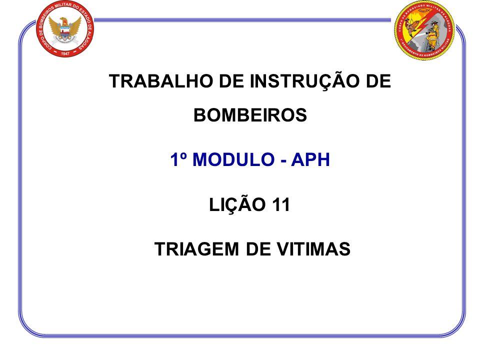 TRABALHO DE INSTRUÇÃO DE BOMBEIROS 1º MODULO - APH LIÇÃO 11 TRIAGEM DE VITIMAS