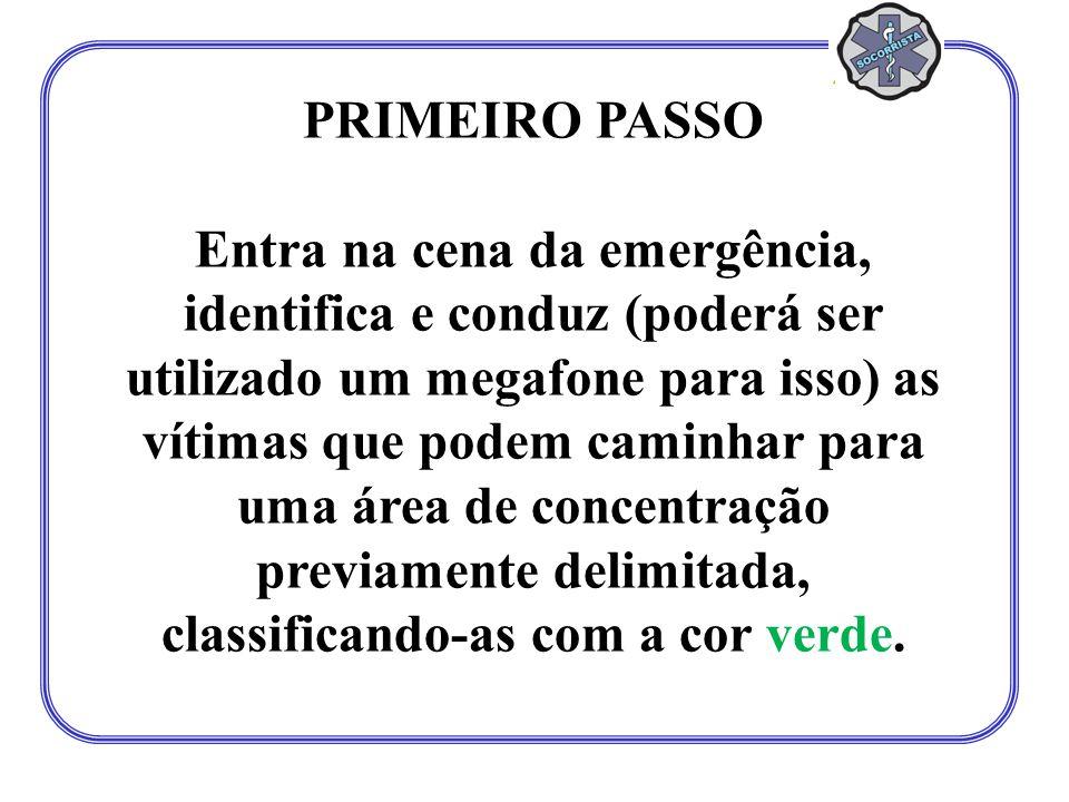 PRIMEIRO PASSO Entra na cena da emergência, identifica e conduz (poderá ser utilizado um megafone para isso) as vítimas que podem caminhar para uma área de concentração previamente delimitada, classificando-as com a cor verde.