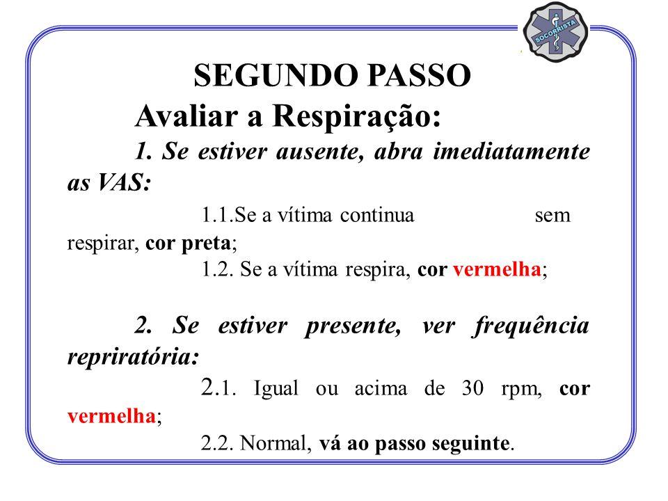 SEGUNDO PASSO Avaliar a Respiração: 1. Se estiver ausente, abra imediatamente as VAS: 1.1.Se a vítima continua sem respirar, cor preta; 1.2. Se a víti