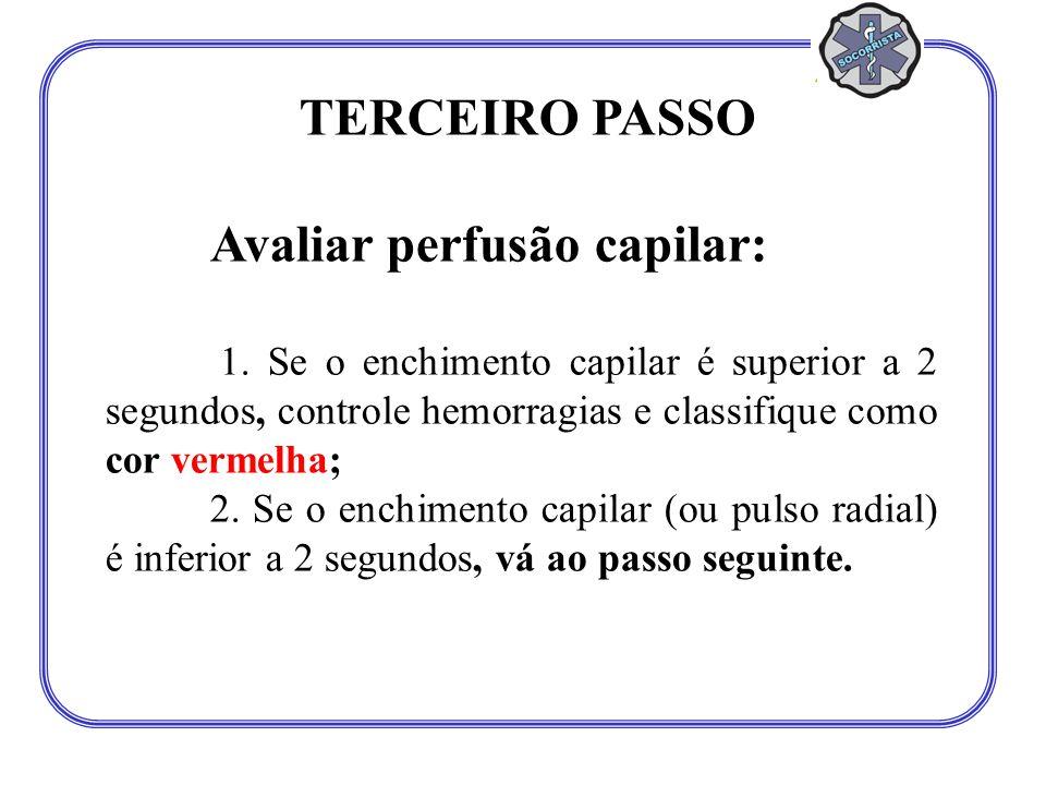 TERCEIRO PASSO Avaliar perfusão capilar: 1. Se o enchimento capilar é superior a 2 segundos, controle hemorragias e classifique como cor vermelha; 2.