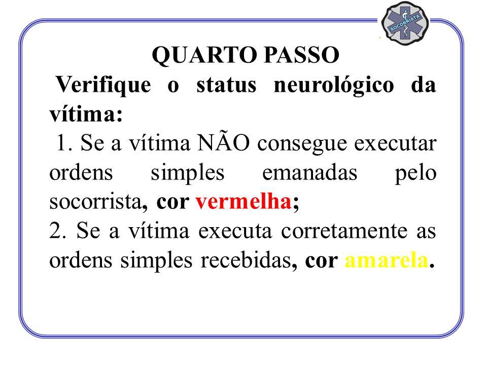QUARTO PASSO Verifique o status neurológico da vítima: 1. Se a vítima NÃO consegue executar ordens simples emanadas pelo socorrista, cor vermelha; 2.