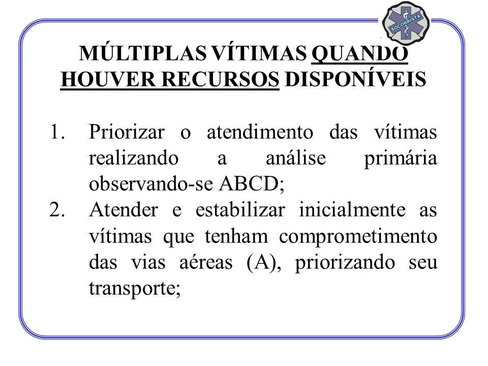 MÚLTIPLAS VÍTIMAS QUANDO HOUVER RECURSOS DISPONÍVEIS 1.Priorizar o atendimento das vítimas realizando a análise primária observando-se ABCD; 2.Atender