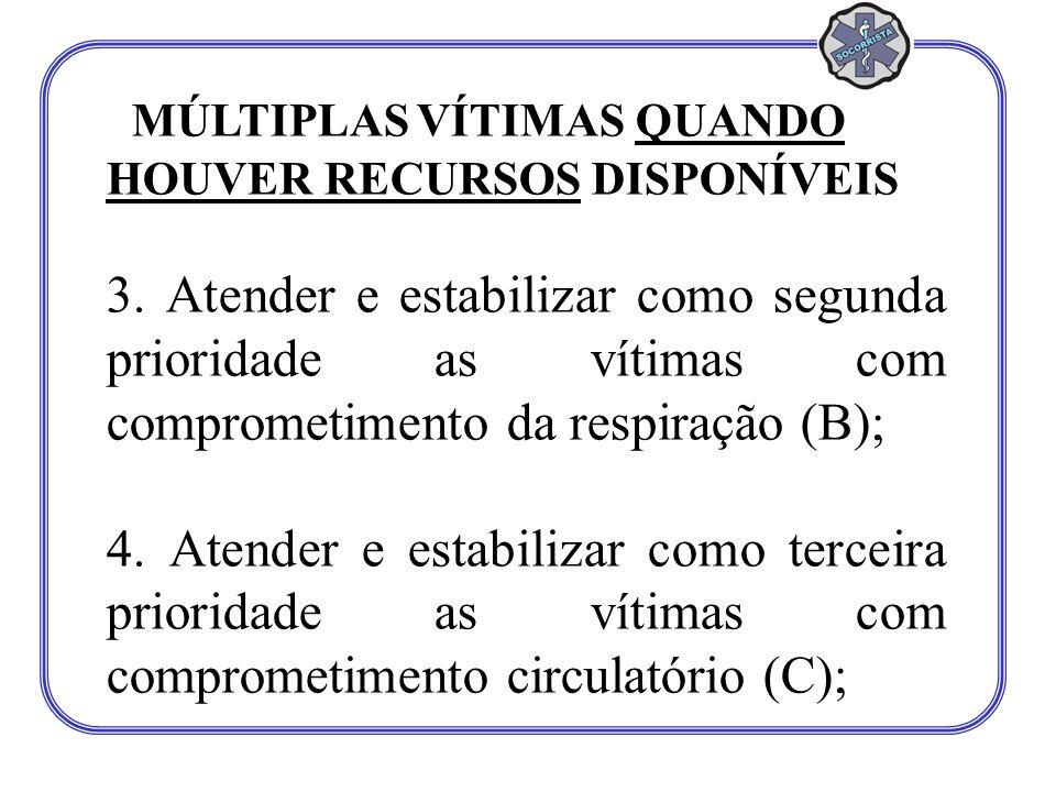 MÚLTIPLAS VÍTIMAS QUANDO HOUVER RECURSOS DISPONÍVEIS 3. Atender e estabilizar como segunda prioridade as vítimas com comprometimento da respiração (B)