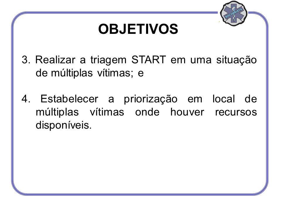 3. Realizar a triagem START em uma situação de múltiplas vítimas; e 4. Estabelecer a priorização em local de múltiplas vítimas onde houver recursos di