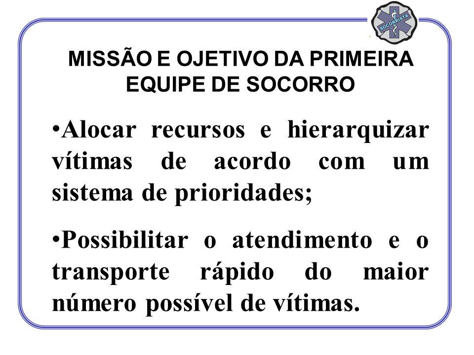 MISSÃO E OJETIVO DA PRIMEIRA EQUIPE DE SOCORRO Alocar recursos e hierarquizar vítimas de acordo com um sistema de prioridades; Possibilitar o atendime