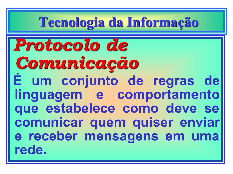 Tecnologia da Informação Tecnologia da Informação Como estes compu- tadores se falam? Protocolo de Comunicação Foi desenvolvido o Protocolo de Comunic