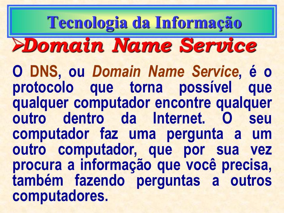 Tecnologia da Informação Tecnologia da Informação IP address IP address Número atribuído a cada computador conectado à rede. É através deste número qu