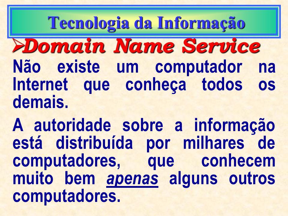 Tecnologia da Informação Tecnologia da Informação Domain Name Service Domain Name Service O DNS, ou Domain Name Service, é o protocolo que torna possí