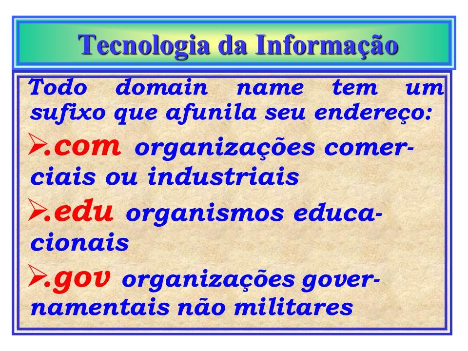 Tecnologia da Informação Tecnologia da Informação sufixo Todo endereço, ge- ralmente, termina com sufixo que iden- tifica o país de origem do endereço