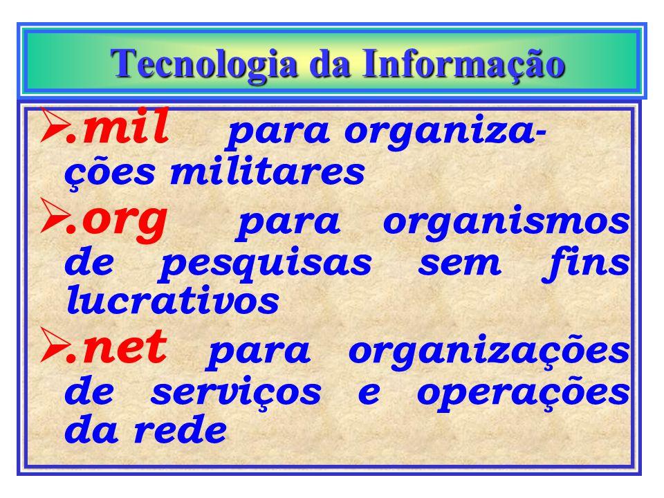 Tecnologia da Informação Tecnologia da Informação Todo domain name tem um sufixo que afunila seu endereço:.com organizações comer- ciais ou industriai