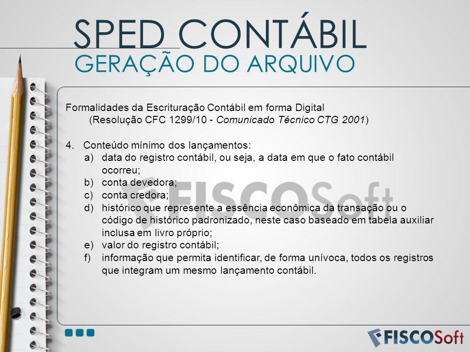 Formalidades da Escrituração Contábil em forma Digital (Resolução CFC 1299/10 - Comunicado Técnico CTG 2001) 4.Conteúdo mínimo dos lançamentos: a)data