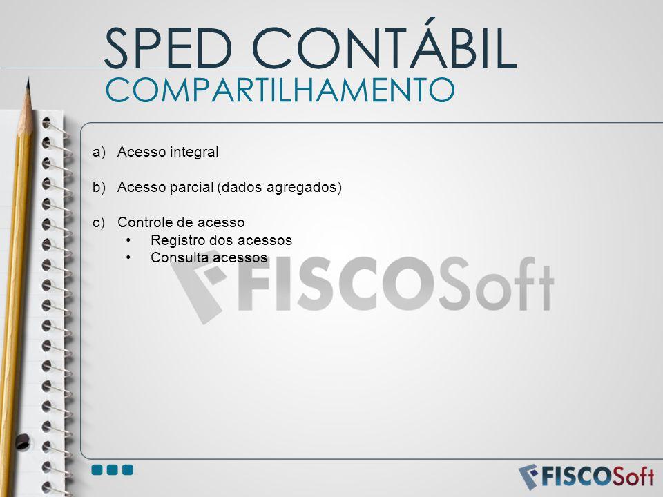 a)Acesso integral b)Acesso parcial (dados agregados) c)Controle de acesso Registro dos acessos Consulta acessos COMPARTILHAMENTO SPED CONTÁBIL
