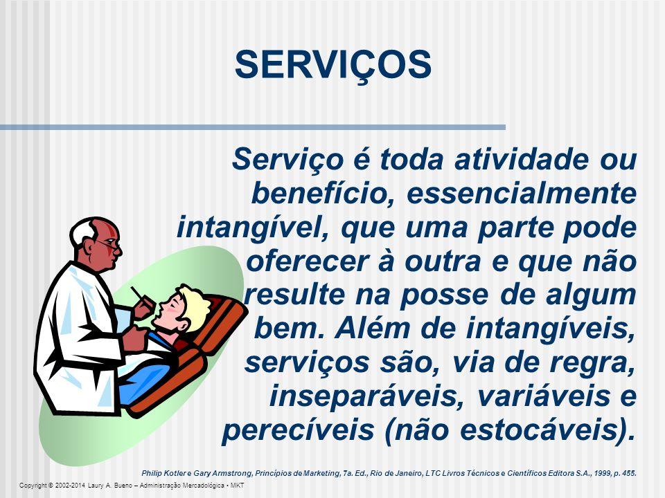 SERVIÇOS Serviço é toda atividade ou benefício, essencialmente intangível, que uma parte pode oferecer à outra e que não resulte na posse de algum bem
