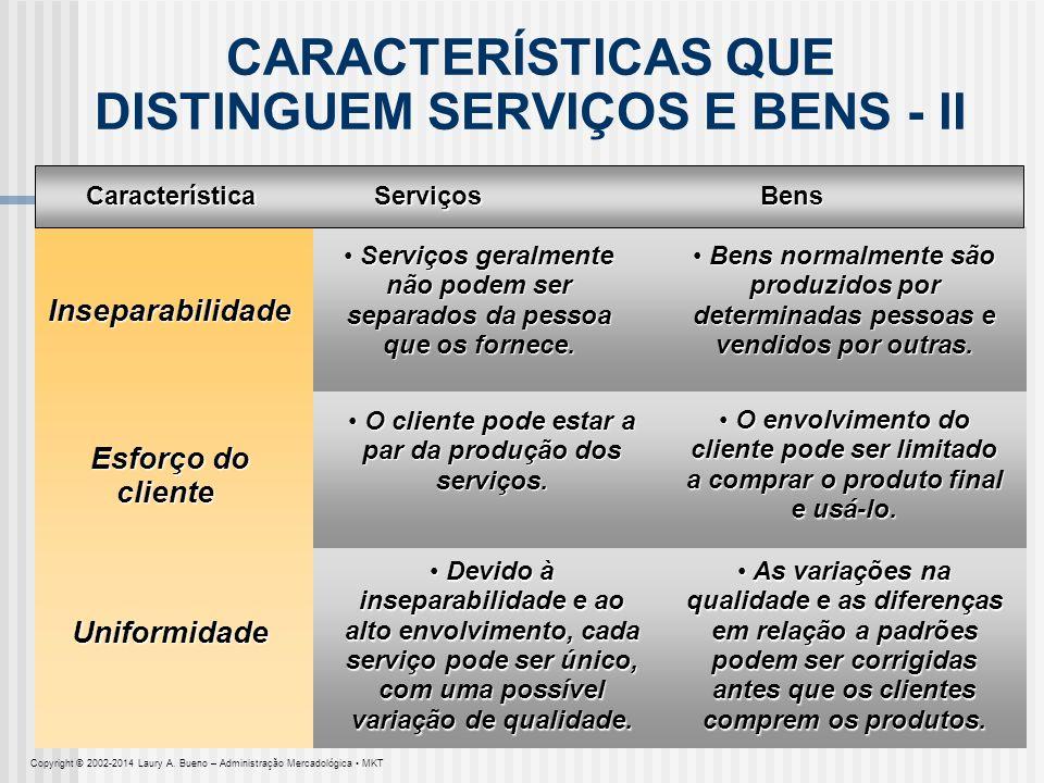 CARACTERÍSTICAS QUE DISTINGUEM SERVIÇOS E BENS - II Serviços geralmente não podem ser separados da pessoa que os fornece. Serviços geralmente não pode
