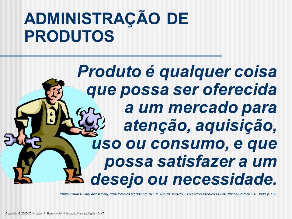 ADMINISTRAÇÃO DE PRODUTOS Produto é qualquer coisa que possa ser oferecida a um mercado para atenção, aquisição, uso ou consumo, e que possa satisfaze