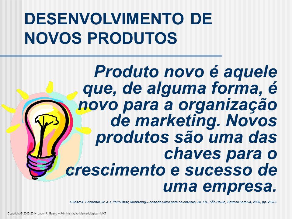 DESENVOLVIMENTO DE NOVOS PRODUTOS Produto novo é aquele que, de alguma forma, é novo para a organização de marketing. Novos produtos são uma das chave