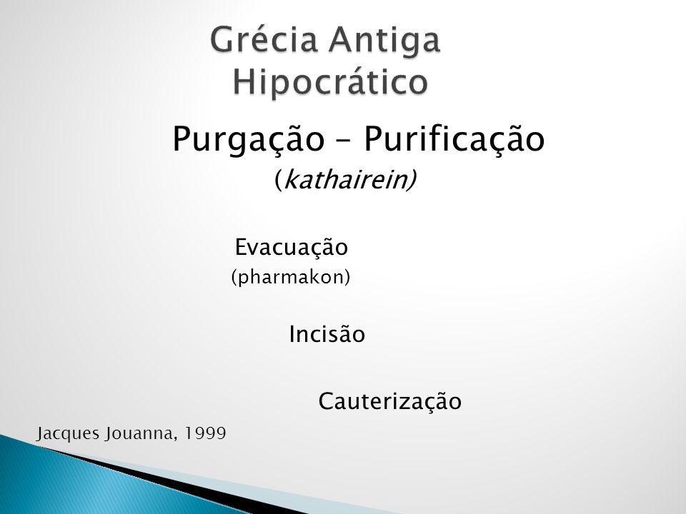 Purgação – Purificação (kathairein) Evacuação (pharmakon) Incisão Cauterização Jacques Jouanna, 1999