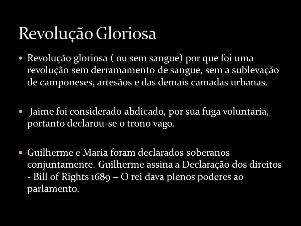 Revolução gloriosa ( ou sem sangue) por que foi uma revolução sem derramamento de sangue, sem a sublevação de camponeses, artesãos e das demais camada