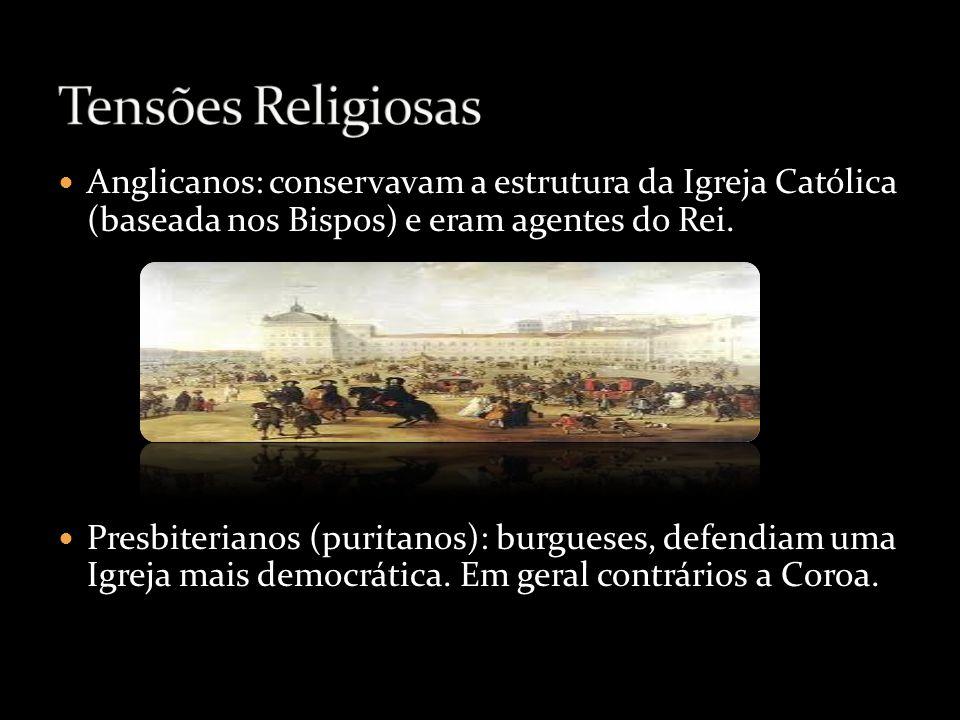 Anglicanos: conservavam a estrutura da Igreja Católica (baseada nos Bispos) e eram agentes do Rei. Presbiterianos (puritanos): burgueses, defendiam um