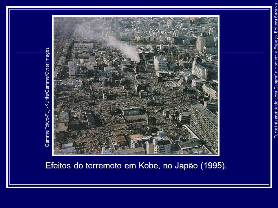 Parte integrante da obra Geografia Homem e Espaço, Editora Saraiva Efeitos do terremoto em Kobe, no Japão (1995). Gamma Tokyo-Fuji-Kurita/Gamma/Other