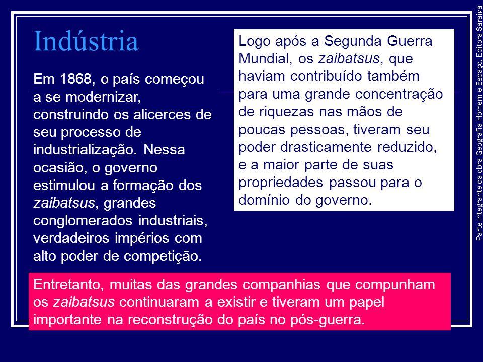 Parte integrante da obra Geografia Homem e Espaço, Editora Saraiva Indústria Em 1868, o país começou a se modernizar, construindo os alicerces de seu