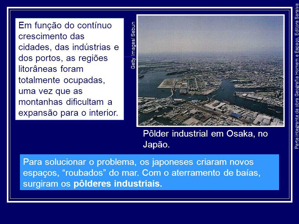 Parte integrante da obra Geografia Homem e Espaço, Editora Saraiva Pôlder industrial em Osaka, no Japão. Getty Images/ Sebun Em função do contínuo cre
