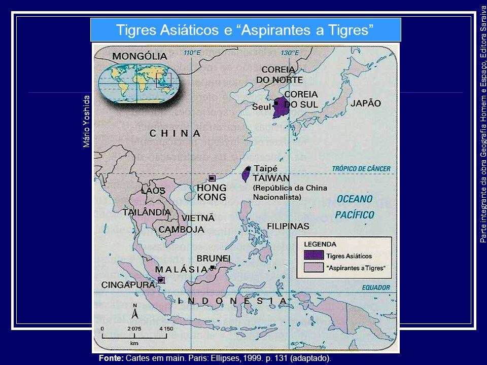 Parte integrante da obra Geografia Homem e Espaço, Editora Saraiva Tigres Asiáticos e Aspirantes a Tigres Mário Yoshida Fonte: Cartes em main. Paris:
