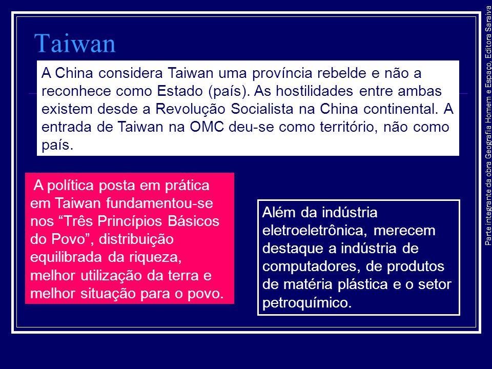Parte integrante da obra Geografia Homem e Espaço, Editora Saraiva Taiwan A China considera Taiwan uma província rebelde e não a reconhece como Estado