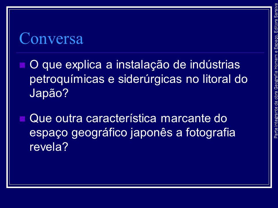 Parte integrante da obra Geografia Homem e Espaço, Editora Saraiva Conversa O que explica a instalação de indústrias petroquímicas e siderúrgicas no l