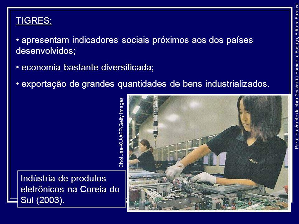 Parte integrante da obra Geografia Homem e Espaço, Editora Saraiva TIGRES: apresentam indicadores sociais próximos aos dos países desenvolvidos; econo
