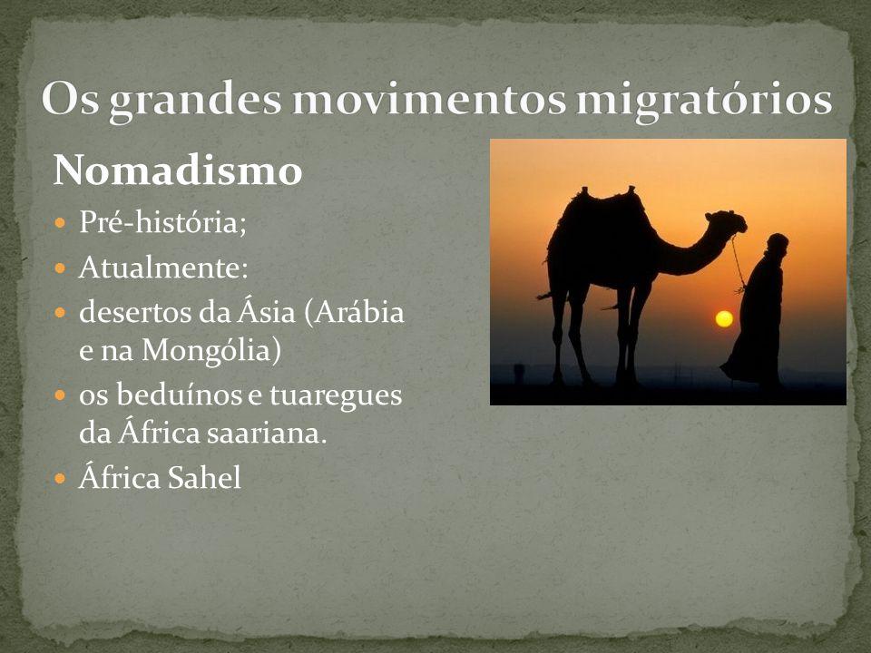 Nomadismo Pré-história; Atualmente: desertos da Ásia (Arábia e na Mongólia) os beduínos e tuaregues da África saariana. África Sahel