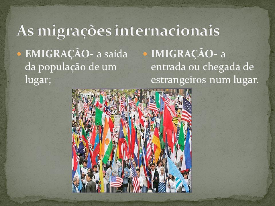 EMIGRAÇÃO- a saída da população de um lugar; IMIGRAÇÃO- a entrada ou chegada de estrangeiros num lugar.