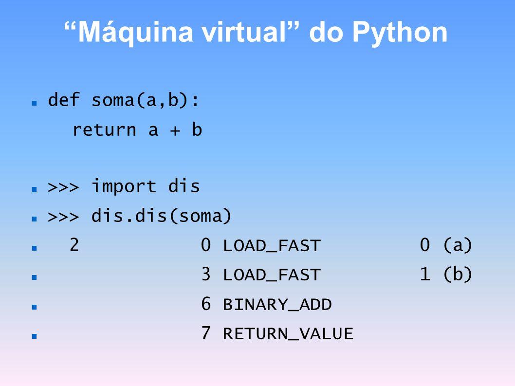 Máquina virtual do Python def soma(a,b): return a + b >>> import dis >>> dis.dis(soma) 2 0 LOAD_FAST 0 (a) 3 LOAD_FAST 1 (b) 6 BINARY_ADD 7 RETURN_VAL