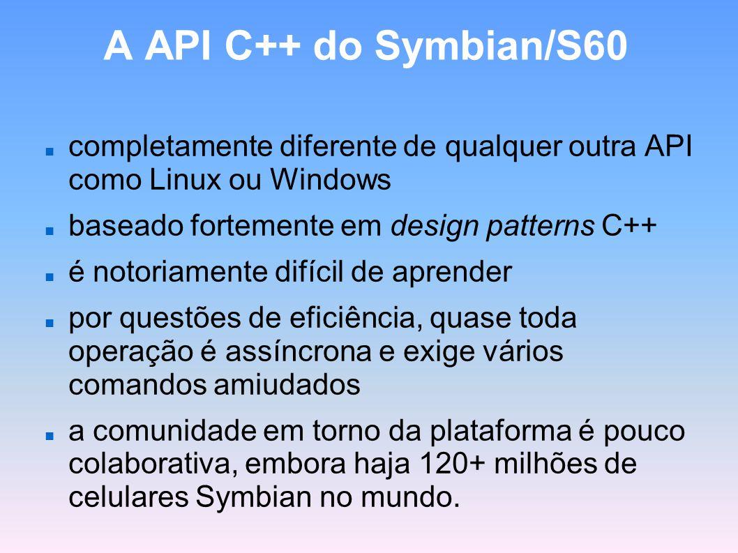 A API C++ do Symbian/S60 completamente diferente de qualquer outra API como Linux ou Windows baseado fortemente em design patterns C++ é notoriamente