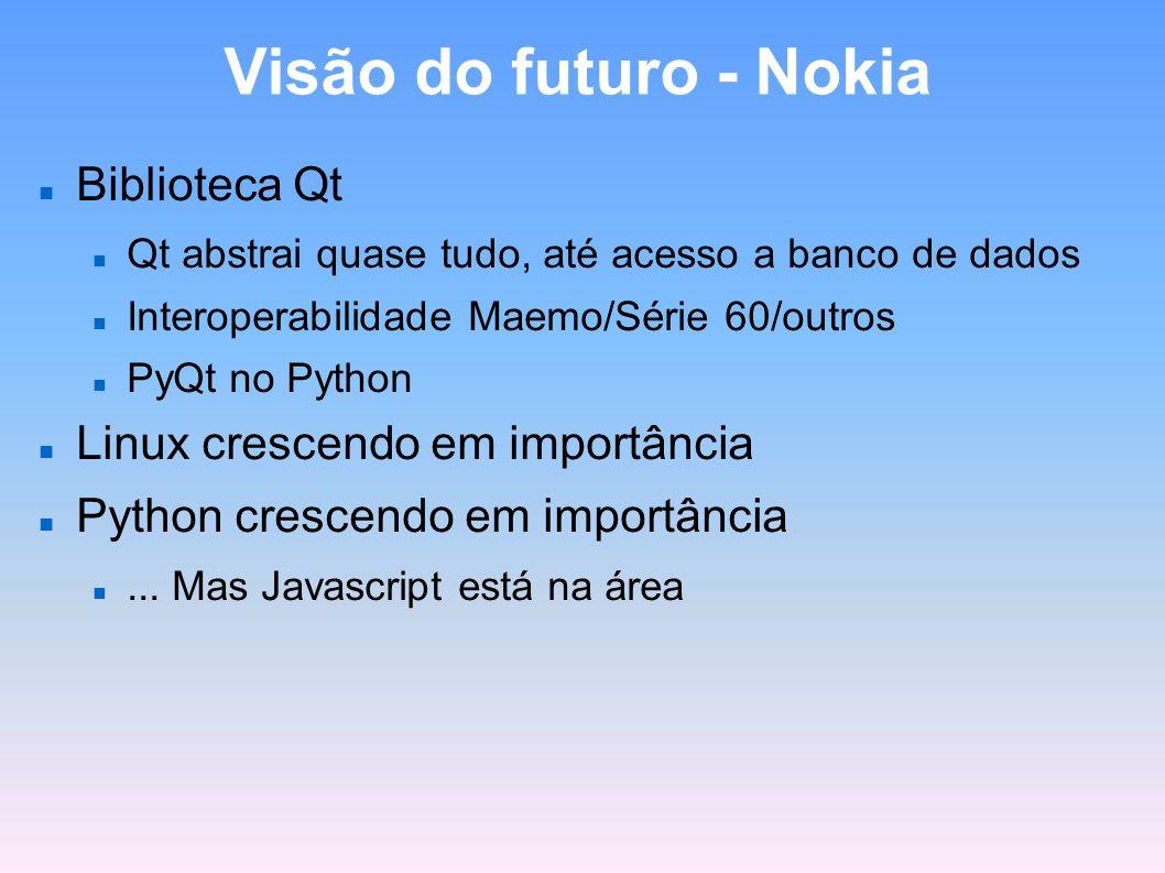 Visão do futuro - Nokia Biblioteca Qt Qt abstrai quase tudo, até acesso a banco de dados Interoperabilidade Maemo/Série 60/outros PyQt no Python Linux