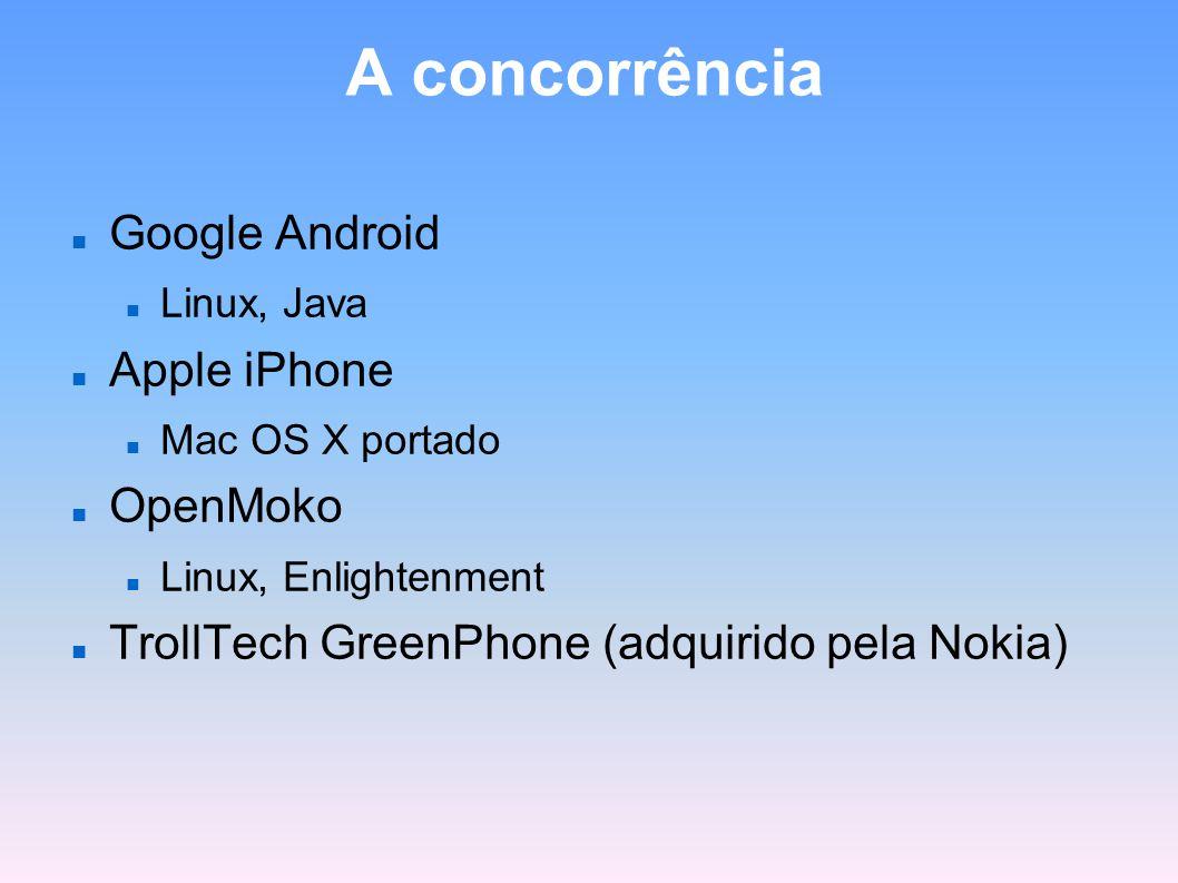 A concorrência Google Android Linux, Java Apple iPhone Mac OS X portado OpenMoko Linux, Enlightenment TrollTech GreenPhone (adquirido pela Nokia)