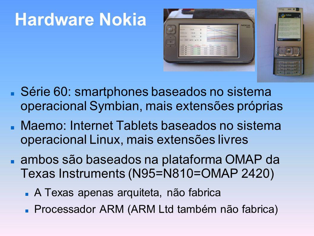 Hardware Nokia Série 60: smartphones baseados no sistema operacional Symbian, mais extensões próprias Maemo: Internet Tablets baseados no sistema oper