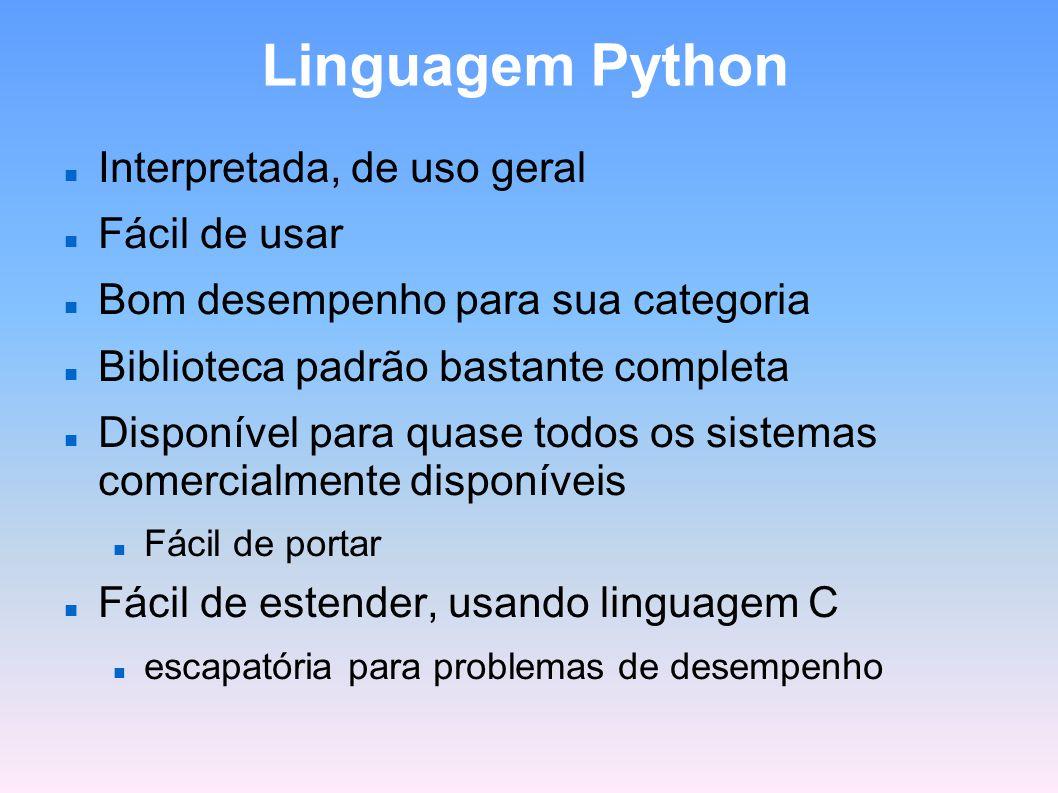 Linguagem Python Interpretada, de uso geral Fácil de usar Bom desempenho para sua categoria Biblioteca padrão bastante completa Disponível para quase