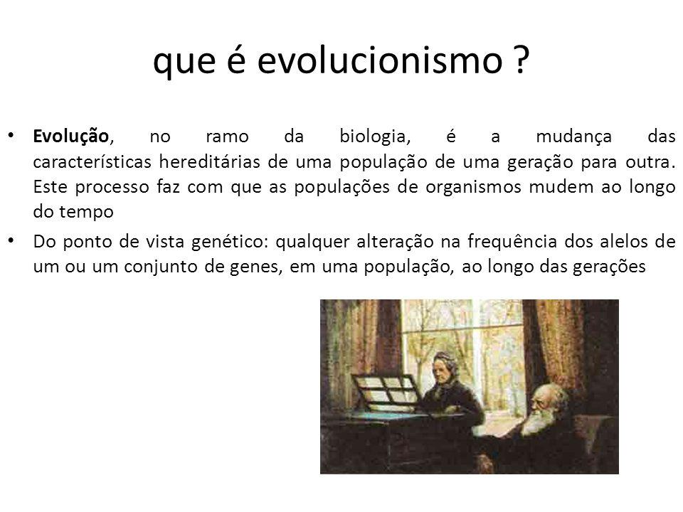 que é evolucionismo ? Evolução, no ramo da biologia, é a mudança das características hereditárias de uma população de uma geração para outra. Este pro
