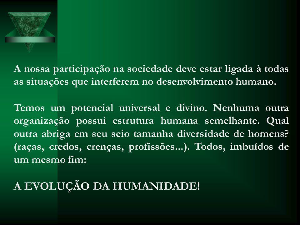 A nossa participação na sociedade deve estar ligada à todas as situações que interferem no desenvolvimento humano. Temos um potencial universal e divi