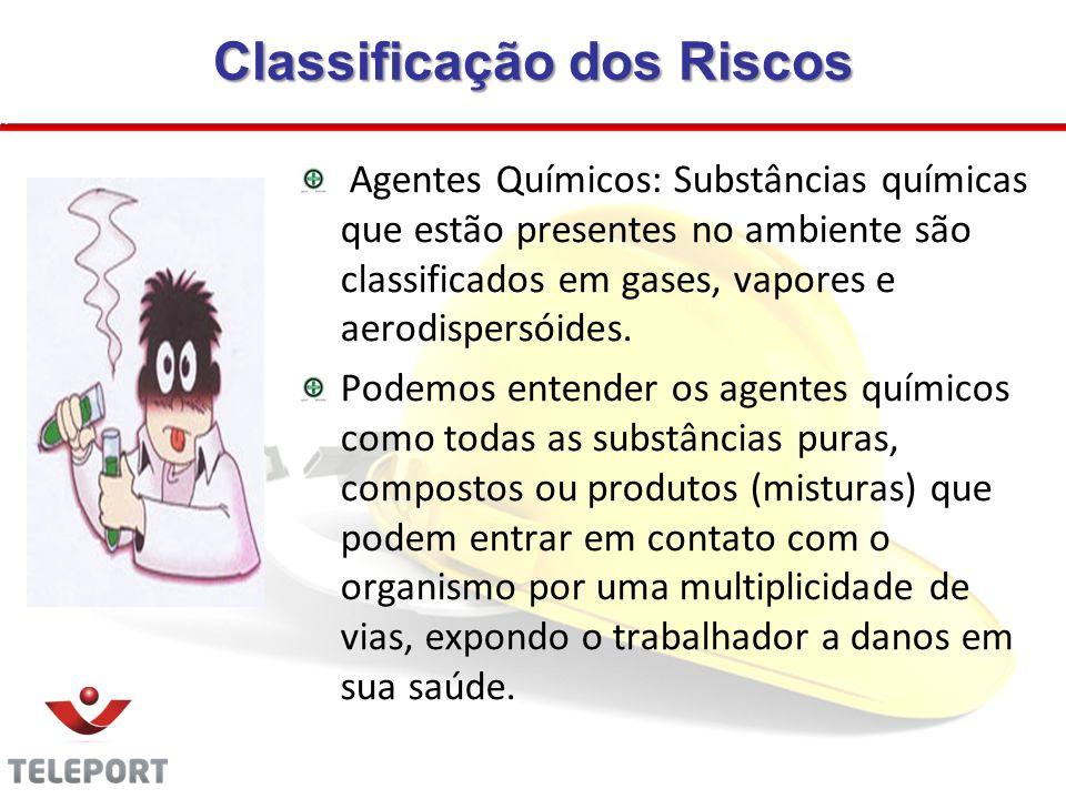 Classificação dos Riscos Agentes Químicos: Substâncias químicas que estão presentes no ambiente são classificados em gases, vapores e aerodispersóides