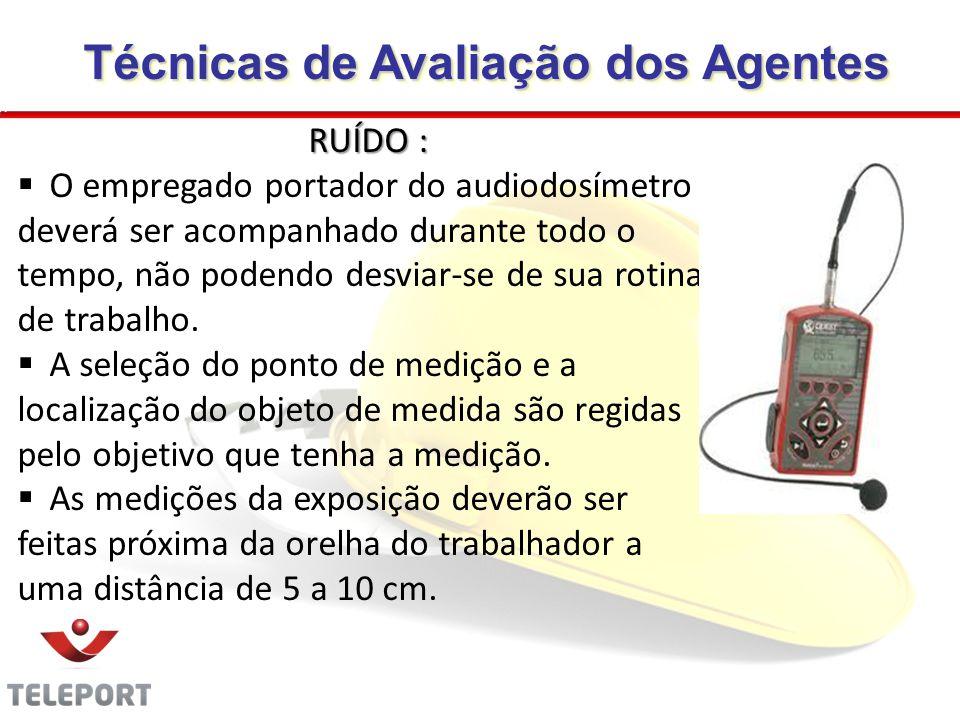 RUÍDO : O empregado portador do audiodosímetro deverá ser acompanhado durante todo o tempo, não podendo desviar-se de sua rotina de trabalho. A seleçã