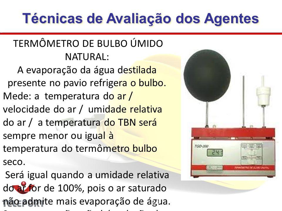 TERMÔMETRO DE BULBO ÚMIDO NATURAL: A evaporação da água destilada presente no pavio refrigera o bulbo. Mede: a temperatura do ar / velocidade do ar /