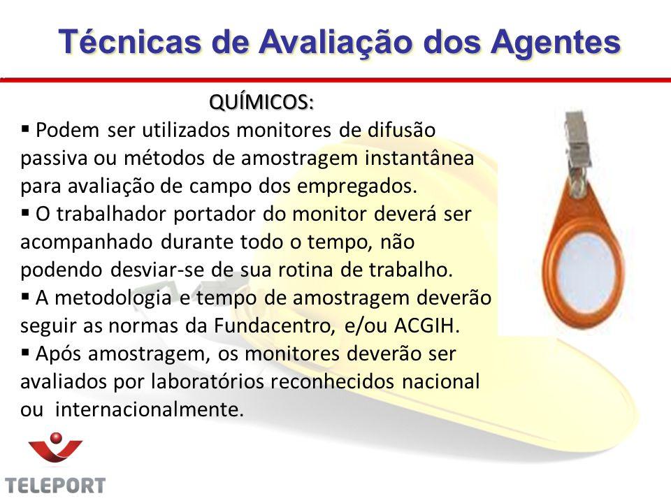 Técnicas de Avaliação dos Agentes Técnicas de Avaliação dos Agentes QUÍMICOS: Podem ser utilizados monitores de difusão passiva ou métodos de amostrag