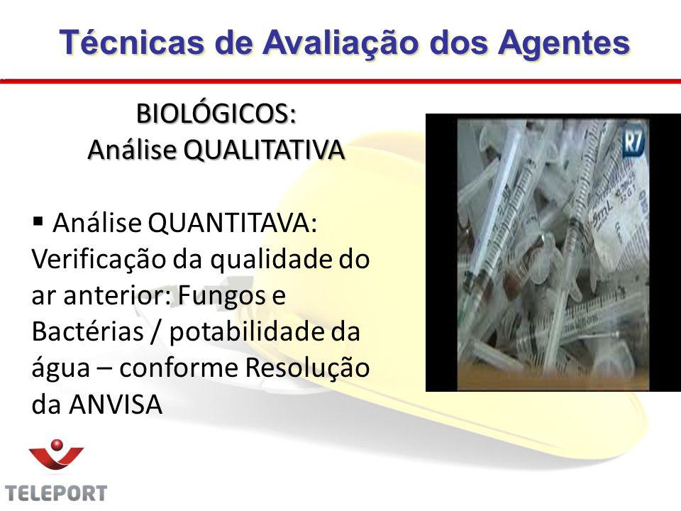 Técnicas de Avaliação dos Agentes Técnicas de Avaliação dos Agentes BIOLÓGICOS: Análise QUALITATIVA Análise QUANTITAVA: Verificação da qualidade do ar