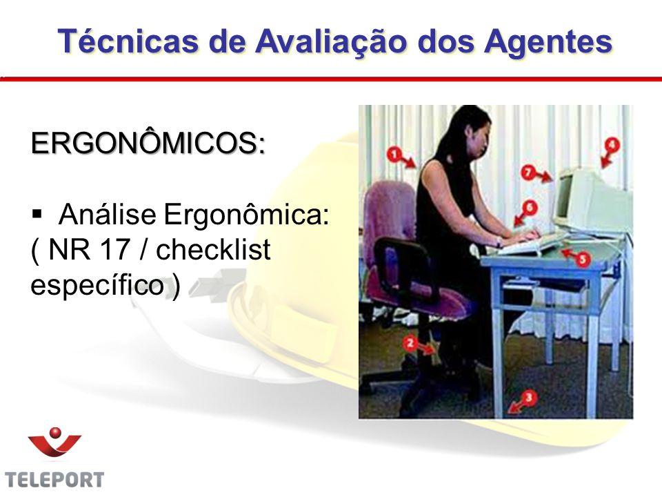 Técnicas de Avaliação dos Agentes Técnicas de Avaliação dos Agentes ERGONÔMICOS: Análise Ergonômica: ( NR 17 / checklist específico ) 28