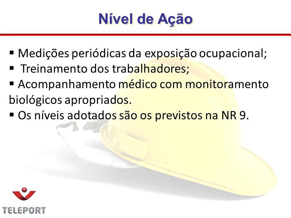 Nível de Ação Medições periódicas da exposição ocupacional; Treinamento dos trabalhadores; Acompanhamento médico com monitoramento biológicos apropria