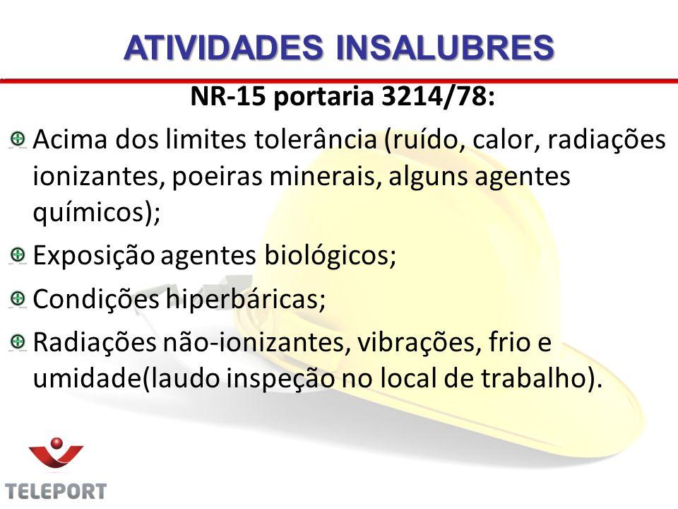 ATIVIDADES INSALUBRES NR-15 portaria 3214/78: Acima dos limites tolerância (ruído, calor, radiações ionizantes, poeiras minerais, alguns agentes quími