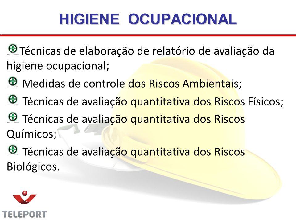 HIGIENE OCUPACIONAL Técnicas de elaboração de relatório de avaliação da higiene ocupacional; Medidas de controle dos Riscos Ambientais; Técnicas de av