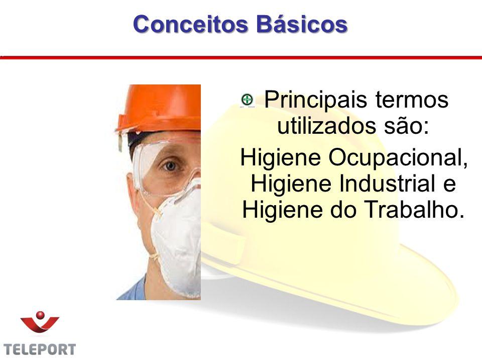 Conceitos Básicos Principais termos utilizados são: Higiene Ocupacional, Higiene Industrial e Higiene do Trabalho. 04